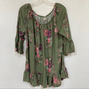 Terra&Sky | Green Floral Blouse With Flair Sleeves